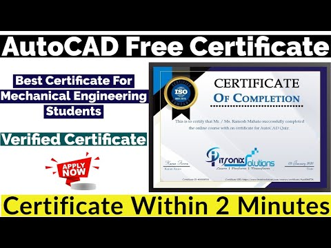 AutoCAD Free Certificate | Best Certificate for Mechanical ... - YouTube