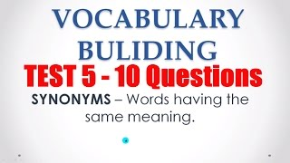Synonyms  MCQs Test 5 - English Vocabulary for Bank PO Exams
