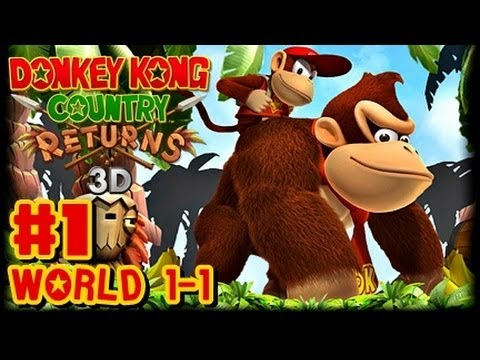 Donkey Kong Country Returns 3D - (1080p) 100% Part 1 - World 1-1 (Giveaway)