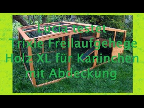 Lucia testet Trixie Freilaufgehege Holz XL für Kaninchen mit Abdeckung