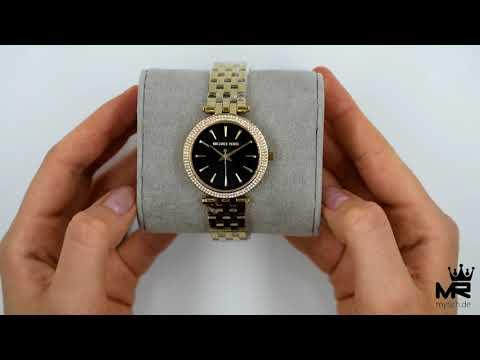 Michael Kors Damen Uhr MK3738 Mini Darci Armbanduhr Schwarz Gold