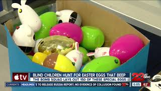 The Bakersfield Police Department lays out beeping Easter eggs for blind children to hunt