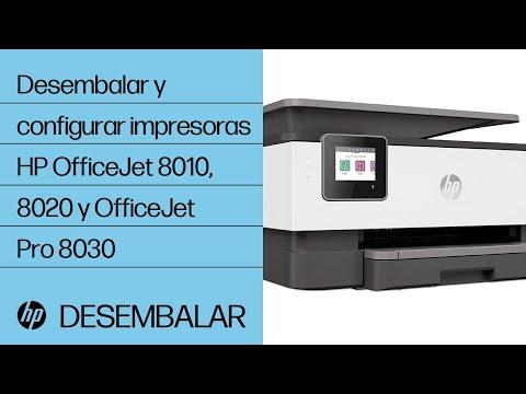 Cómo desembalar y configurar las impresoras HP OfficeJet de las series 8010, 8020 y OfficeJet Pro de la serie 8030