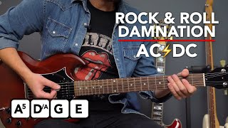 AC/DC Rock And Roll Damnation Guitar lesson tutorial + EASY LEAD ideas