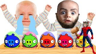Funny Baby Kids Learn Colors With Surprise Eggs Angry Birds Wooden Hammer and Bathing Colors Fun   L