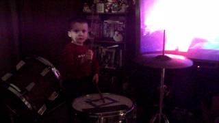 3 Year old plays drums to Apologetix Cheap Birds