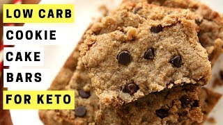 KETO RECIPES | Chocolate Chip Cookie Cake Bars | Easy Low Carb Keto Desserts