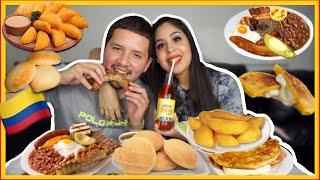 COLOMBIAN FOOD MUKBANG! + HUSBAND Q&A (EMPANADAS, BANDEJA PAISA, AREPA EATING SHOW)