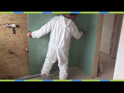 Waschbecken Wand im Bad mit Gipskartonplatten Beplanken