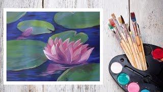 Картина за 10 минут! Видео урок Рисуем Гуашью Кувшинки в пруду! #Dari Art
