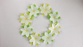 折り紙くちなしの花のリースGardeniaFlowerWreath
