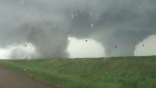 INSANE Nebraska Twin Tornadoes!  Pilger, Nebraska 6/16/14