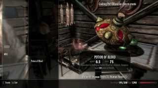 Skyrim tutorial for making a potion of blood  from the mod Craftable potions of blood