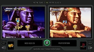 Metal Slug 2 vs Metal Slug X (Neo Geo Cd vs Playstation) Side by Side Comparison