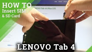 How to Insert SIM and SD in LENOVO Tab 4 - Install SIM & SD Card |HardReset.Info - dooclip.me