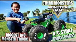 REAL R/C STUNT CHALLENGE! BIGGEST R/C MONSTER TRUCK! ETHAN MONSTERS MONSTER JAM MEGA GRAVE DIGGER!
