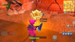 """SEARCH BETWEEN AN OASIS, ROCK ARCHWAY AND DINOSAURS"" BATTLESTAR LOCATION Fortnite Week 2 Season 5"