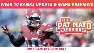2019 Fantasy Football Week 10Rankings Update Live — DraftKings Picks, Injuries & Viewer Chat