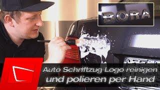 Auto Schriftzug Logo einfach reinigen und polieren per Hand - Detailing Pinsel und Autosol