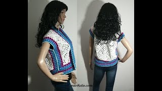 How to crochet easy open jacket bolero shrug for beginners free tutorial