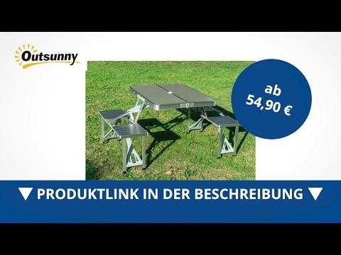 Outsunny Alu Campingtisch Picknick 4-Sitzer klappbar silber - direkt kaufen!