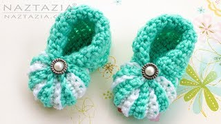 How To Crochet Simple Baby Booties - Easy Shoes For Babies By Naztazia