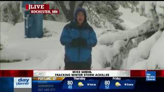 Mike Seidel The Weather Channel Falls During Record Snow Rochester, MN 5-2-2013