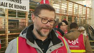 """Rassemblement CGT Pénitentiaire devant la DI Rennes """"Mardi Noir"""" 12/02/19"""