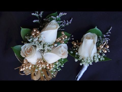 How to make corsage and boutonniere set for prom or wedding