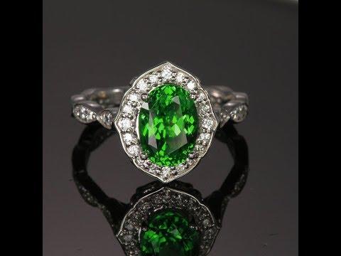 Platinum Tsavorite Garnet Ring Designed by Christopher Michael