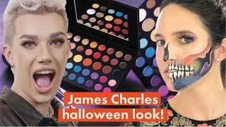 James Charles Morphe Mini Palette Halloween Rainbow Skull Makeup Challenge! | Cosmopolitan