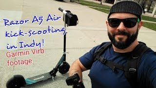 Riding my Razor A5 Air Kick Scooter in Indianapolis! Garmin Virb Footage