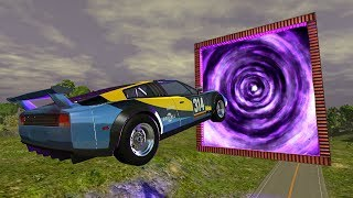 BeamNG.drive - Cars Jumping Through The Portal of *DEATH*