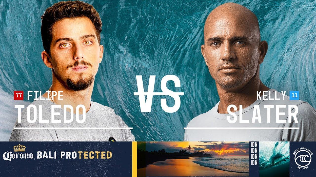 Filipe Toledo vs Kelly Slater - Quarterfinals Heat 3 - Corona Bali Protected 2019