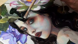 Painting A MERMAID With A Lotusflower // Oil Painting Tutorial