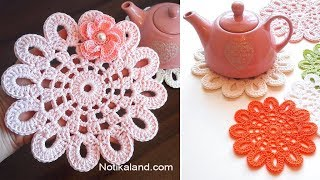 Crochet Doily EASY Crochet Flower Doily  Tutorial