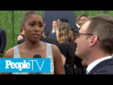 , title : 'Issa Rae Says Insecure Fans Always Want To Talk To Her About Lawrence   Emmys 2018   PeopleTV'