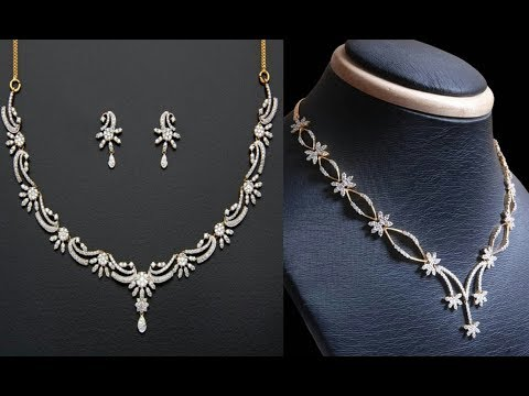 SIMPLE DIAMOND NECKLACE UNDER 25 GRAMS || Latest South Indian Jewellery Designs