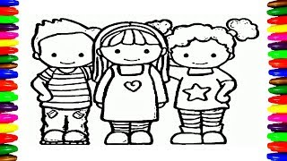 School Boys And Girls Kids Coloring Pages