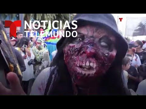 Así fue la terrorífica marcha de miles de 'zombies' por las calles de Ciudad de México | Telemundo