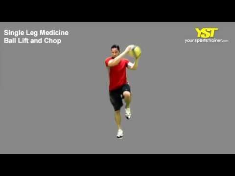 Single Leg Medicine Ball Lift and Chop