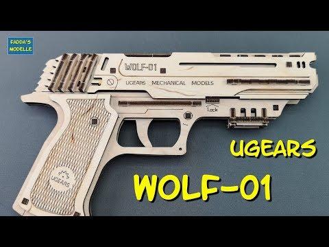 UGEARS Wolf-01 - Pistole Holzmodell - pistol wooden model