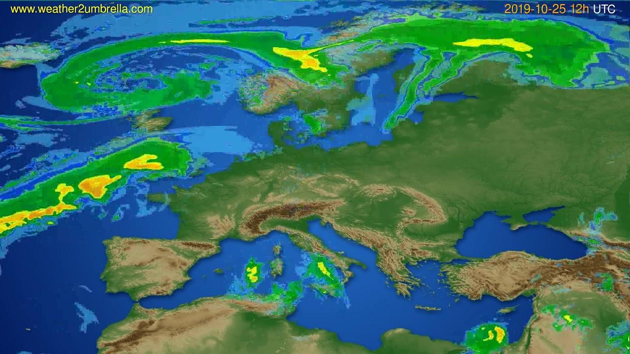 Radar forecast Europe // modelrun: 00h UTC 2019-10-25