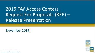 2019 TAY Access Centers RFP: Mandatory Proposers Conference