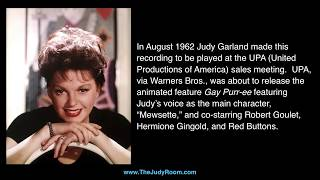 "Judy Garland - Previously Unreleased - ""Gay Purr-ee"" Sales Recording"
