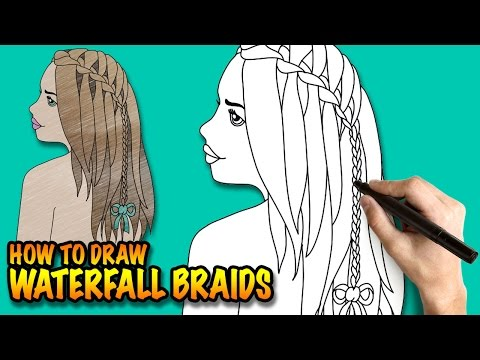 Huzzaz How To Draw Waterfall Braids Easy Step By Step Drawing