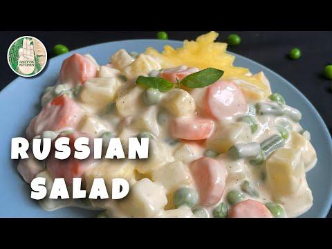 , title : 'RUSSIAN SALAD RECIPE No Onion No Garlic | HEALTHY SALAD RECIPE | QUICK EASY SALAD | Sattvik Kitchen