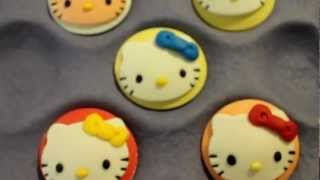 HELLO KITTY CUPCAKE TOPPERS - Fondant