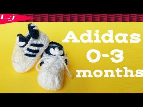 Crochet Adidas Baby Sneakers - Crochet baby booties 0-3 months