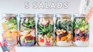 5 MASON JAR Salads ⚡ Meal Prep For #BuzyBeez